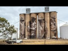 Brim silos: How street artist Guido van Helten made investing in a tiny town an unlikely good idea - ABC News (Australian Broadcasting Corporation) Street Art Melbourne, Stencil Street Art, Mural Art, Cool Art, Awesome Art, Street Artists, Art Projects, Trail, Victoria