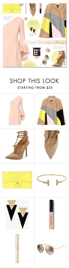 """Party Style: One-Shoulder Dress"" by polly301 ❤ liked on Polyvore featuring Exclusive for Intermix, Persona, Sam Edelman, Chanel, Yves Saint Laurent, Bobbi Brown Cosmetics, Kevyn Aucoin, Fendi, MAC Cosmetics and dress"