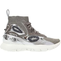 Valentino Women 30mm Heros Her Embellished Lurex Sneaker ($1,400) ❤ liked on Polyvore featuring shoes, sneakers, silver, valentino trainers, valentino sneakers, metallic shoes, decorating shoes and rubber sole sneakers