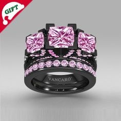 Princess Cut Pink Cubic Zirconia 925 Sterling Silver With Black Rhodium Plated Three-stone Ring Set/Engagement Ring