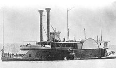 """USS Peosta: Tinclad Gunboat #36. This 233-ton steamer, her lower deck armored with ½"""" iron plate and bristling with cannon, was one of the less glamorous warriors of the Civil War backwaters. Built in 1857 as a merchant vessel, she was acquired by Adm. Porter in 1861 for patrol duty on the Tennessee River, based out of Paducah, Kentucky, where she spent the entire war. Commissioned in late 1863, Her moment of truth came on March 25, 1864 when she helped stop a Confederate advance on Paducah."""
