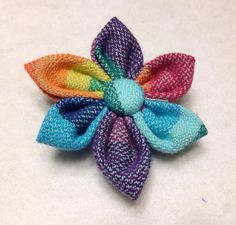 Double Rainbow wrap scrap flower by HairBowCo on Etsy