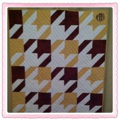 FSU Houndstooth Quilt I made for a special little girl.....
