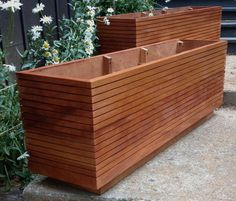 Tall Modern Mahogany Planter Boxes, Mid Century Modern, Free Shipping, Fits Five Gallon Buckets, Custom Wood Planter Boxes. 10 - 50 Gallon.