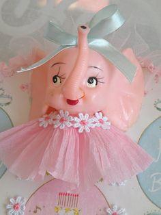 Pink Ele with Aqua bow