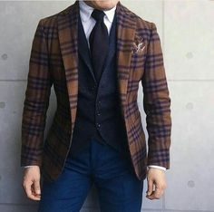We encourage you to step-up your menswear game with vibrant colors and patterns. Blazer Fashion, Mens Fashion Suits, Mens Suits, Stylish Men, Men Casual, Traje Casual, Estilo Preppy, Style Masculin, Elegant Man