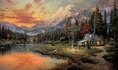 kinkade cabin | Thomas Kinkade Cabin Paintings