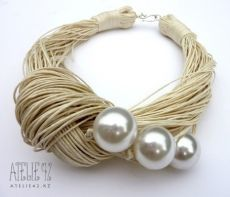 This unique necklace is made of ivory linen thread and three white acrylic pearl beads. The beads measrue approx. Pearl Beads, Pearl Jewelry, Beaded Jewelry, Jewelery, Handmade Jewelry, Pearl Bracelet, Amber Jewelry, Handmade Beads, Pearl Necklace