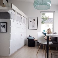 fabulous Ikea hack, loft bed supported by drawers, great space saver and very clean and modern