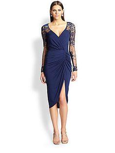 David+Meister Lace+&+Jersey+Dress