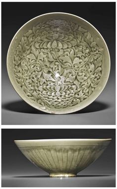 A YAOZHOU CELADON MOLDED CONICAL BOWL - NORTHERN SONG-JIN DYNASTY, 12TH-13TH CENTURY.