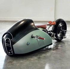 "Check out this AMAZING 'Alpha' BMW drag bike by Mark Makr Atkinson from a design by Mehmet Doruk Erdem. Taking the expression ""Flying Brick"" to a whole new level. Bmw Cafe Racer, Moto Cafe, Cafe Racers, Concept Motorcycles, Cool Motorcycles, Vintage Motorcycles, Triumph Motorcycles, Bobber Custom, Custom Bikes"