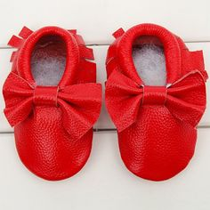 Genuine Leather Red Baby and Toddler Moccasins