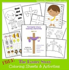 FREE Easter Story Coloring Sheets and Activity Pages Preschool Bible, Preschool Crafts, Easter Crafts, Holiday Crafts, Holiday Fun, Easter Ideas, Kids Bible, Church Activities, Easter Activities