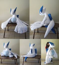 "Finally done! *_* Vulpix is life size at 2' (24"") tall. A lot bigger than I visualized ahah. She's a floppy plush with plastic pellets in her feet and a lightly stuffed body. Her face is machine em..."