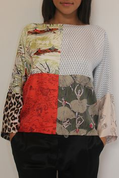 good idea for mixed fabric top..with different fabrics from my stash