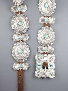 Silver and Turquoise Concha belt.  Traditional 1920's-1940's Navajo style concha belt with 7 conchas and 8 butterflies. Conchas measure 3 x 2 3/8 inches.