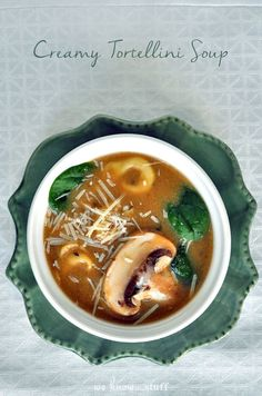This slow cooker soup has become one of our favorite go-to dinners when we're craving some nice, hot soup. It's full of spinach and mushrooms. To cut down on calories, we stopped adding the cream at the end, and it's just as tasty! we know stuff | Creamy Tortellini Soup | http://www.weknowstuff.us.com