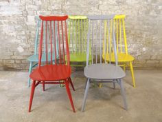 Colourfull painted Ercol Goldsmith Dining Chairs   by RetroFrank
