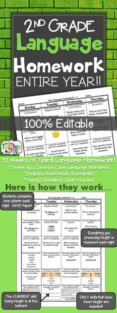 Spiral Language Homework, Morning Work, or Centers for the ENTIRE YEAR of SECOND GRADE! Aligned with 2nd grade Common Core Language standards {Grammar & Word Study}. These sheets are 100% EDITABLE, and come with answer keys. Paid