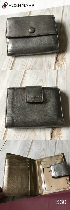 Kate Spade Pewter Wallet Older style Kate Spade Pewter Wallet in good, but used condition. Perfect size for all the basics. kate spade Bags Wallets