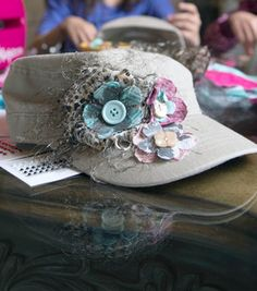 Create your own funky fabric #flower hat by following a few short steps! #Spellbinders makes it easy! #craft #DIY