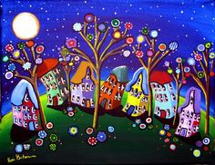 """Whimsical Trees and Houses"" by Renie Britenbucher: Colorful, fun and funky houses lean to and fro amidst some fun blossoms and trees, under a full moon and stars. Framed Wall Art, Wall Art Prints, Fine Art Prints, Poster Prints, Canvas Prints, Framed Prints, Arte Van Gogh, Acrylic Painting For Beginners, Cactus Art"