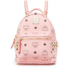 MCM Mini Stark Backpack ($675) ❤ liked on Polyvore featuring bags, backpacks, soft pink, day pack backpack, mini backpacks, studded backpack, pink mini backpack and studded leather backpack