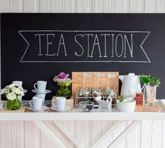 Create a fresh and contemporary tea party with this tea station idea