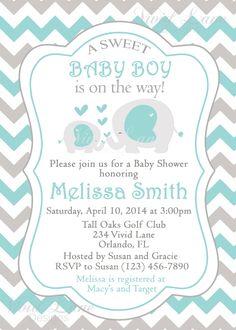 Elephants Baby Shower Invitation Printable Boy by VividLaneDesigns, $13.00