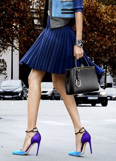 Street style | Pleated skirt and color block heels