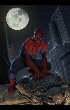 Spiderman_Marvel cover sample, Iqnatius Budi on ArtStation at https://www.artstation.com/artwork/Ga09B