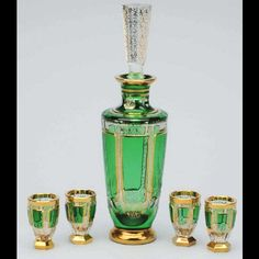Vintage Bohemian emerald green and gilt crystal glass decanter and glasses set
