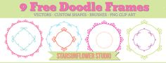 Free Doodle Frames with Custom Shapes Vectors, Brushes & PNG Clipart - StarSunflower Studio