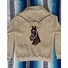 Image of Vintage MILLER Western Horse COWICHAN Cardigan SWEATER Sz L Cowichan Sweater, Sweater Cardigan, Vintage Horse, Jada, Love Story, Westerns, Vintage Outfits, Horses, Type