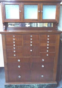 Antique American Mahogany Dentist's Cabinet. 25 Drawers w/White Glass Trays.1920 #AmericanCabinetCo