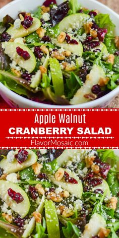 This Apple Walnut Cranberry Salad includes a Mixed Green Spinach Salad with Gree. - This Apple Walnut Cranberry Salad includes a Mixed Green Spinach Salad with Green Apples, Dried Cra - Salade Healthy, Healthy Salads, Healthy Eating, Easy Salads, Clean Eating Salads, Healthy Dishes, Apple Salad Recipes, Chicken Salad Recipes, Dinner Salad Recipes