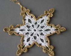 Crochet snowflakes White gold decor Christmas tree ornament