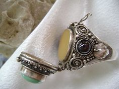 Turquoise & Amethyst Poison Ring by Ayala Moriel