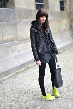 Leather jacket: Zara / Hoodie: Stolen from boyfriend / Jumper: ASOS / Skirt: Zara / Sneakers: Nike Air Max 1 / Bag: Alexander Wang