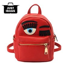 Eye Fashion Cartoon PU Leather Women Bag Brand mini Small Student Girls  Backpack Double Shoulder Bags of the Harvest