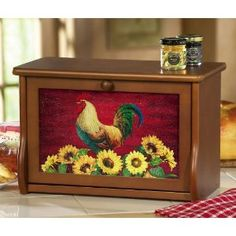 Country Rooster Decor Wooden Bread Box By Collections Etc Rooster Kitchen Decor, Sunflower Kitchen Decor, Rooster Decor, Sunflower Decorations, Rooster Art, Wooden Bread Box, Bread Boxes, Cake Boxes, Bread Bin