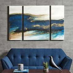 INK + IVY Rolling Waves Triptych Canvas Wall Art 3-piece Set, Blue