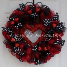 Valentine Wreath, Valentine Wreath with Heart, Valentine Wreath in Red and Black Deco Mesh - pinned by pin4etsy.com