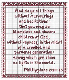 Phillippians 2:14-15 free cross stitch (kjv)