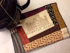 Downton Abbey mug rug, British kitchen, BBC, mini quilt, mom present, birthday, aqua blue and pink, tea time on Etsy,