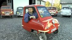 The Peel P50 is a microcar with 3 wheels. Peel Engineering Company manufactured it between 1962 and 1965. Guinness Book of World Records calls it the smallest production car ever made.  It's so small it can only accommodate one adult and a shopping bag. It doesn't have a reverse gear