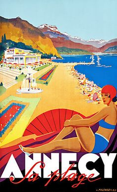 French Art Deco Travel Poster Annecy La Plage Savoie by Falcucci 1935 Vintage French Posters, Vintage Art Prints, Vintage Travel Posters, Old Poster, Retro Poster, Travel Ads, Travel And Tourism, Air Travel, Travel Photos
