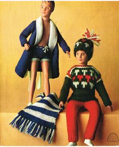 Ken and Action Man Doll clothes knitting pattern for 12 - 13 fashion doll. Pattern on Etsy