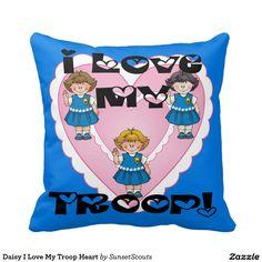Daisy I Love My Troop Heart Pillow